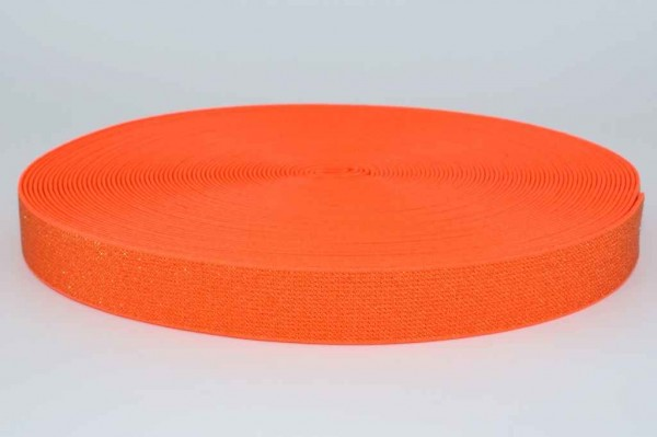 elastic webbing with glitter - colour: neon orange - 25mm wide - 3m length