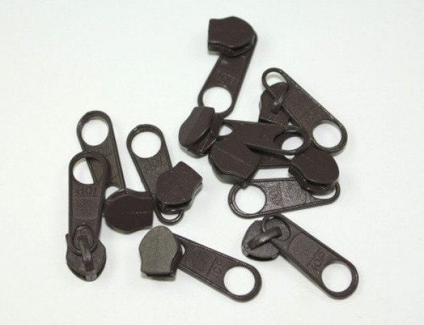 slider for slide fastener with 3mm rail, color: dark brown - 10 pieces