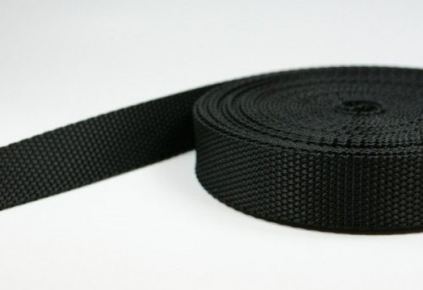 100m webbing made of polyamide, 1,3mm thick, 25mm wide, black