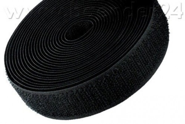 25m Velcro tape, hook, 50mm wide, color: black - for sewing on