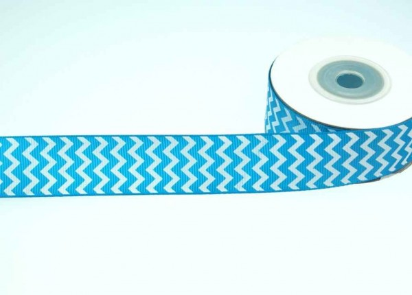 printed webbing / grosgrain ribbon - 25mm wide - 10m roll - turquoise / white