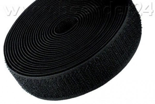 25m Velcro tape hook - 16mm wide, colour: black - for sewing
