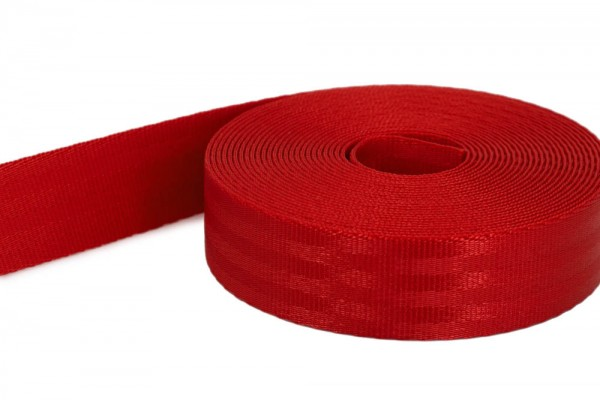 50m safety webbing red made of polyamide - 25mm wide - load capacity: up to 1t