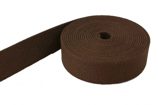 5m cotton webbing - 2,6mm thick - 38mm wide - colour: brown