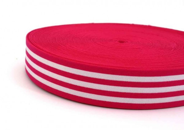 elastic webbing striped - 40mm wide - color: pink / white - 3m roll