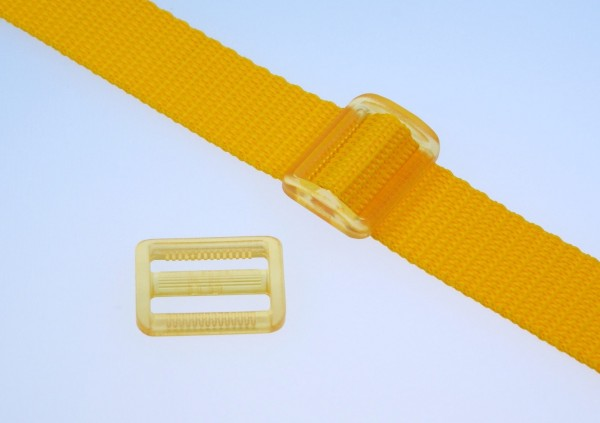 25mm strap adjuster - yellow transparent - 5 pieces