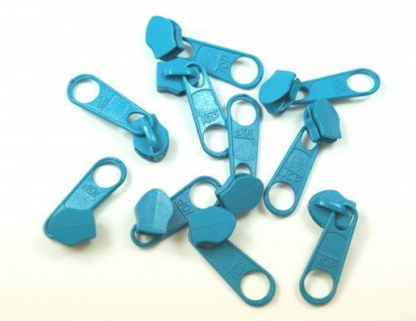 Slider for slide fastener with 5mm rail, color: turquoise - 10 pieces