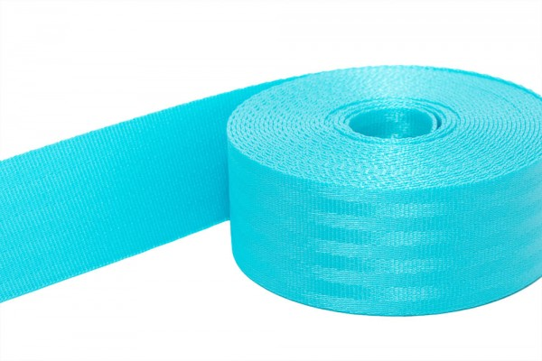 50m safety webbing turquoise made of polyamide, 38mm wide - loading capacity: up to 1,5t