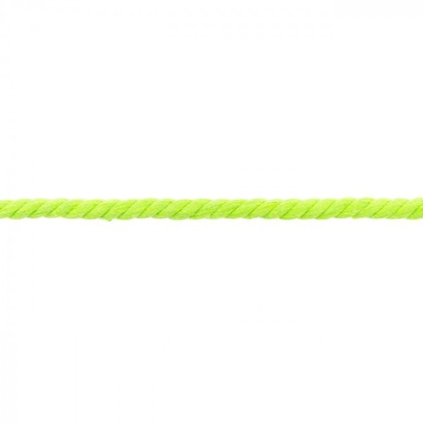 5m cotton cord, twisted - colour: lime - 8mm thick