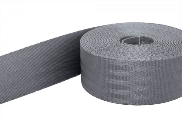 50m safety belt - dark gray - polyamide, 38mm wide - loadable up to 1,5t