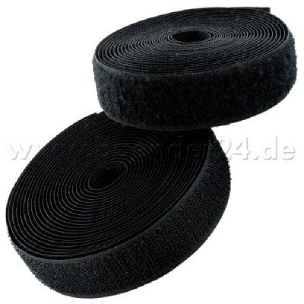 25m Velcro tape, 16mm wide, color: black, 16mm wide, 25m roll