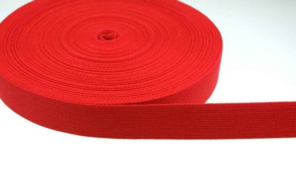 1m cotton webbing - 1,2mm thick - 30mm wide - color: red