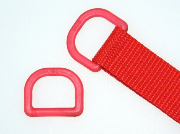 25mm D-ring - red transparent - 1 piece