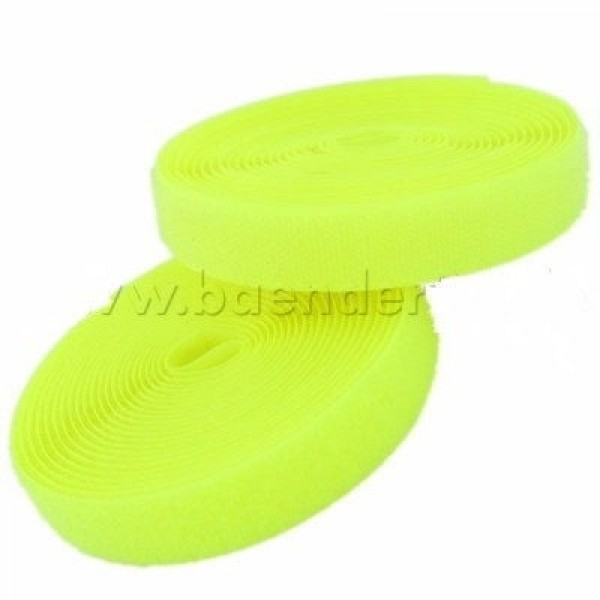 25m Velcro tape (loop & hook), 20mm wide, color: neon yellow - for sewing on