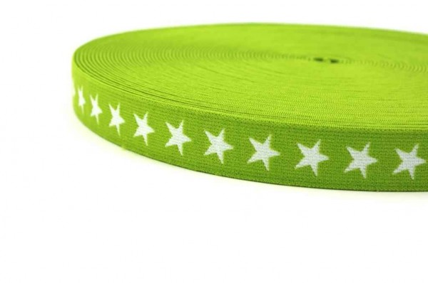 elastic webbing with stars - 20mm wide - color: lime - 3m roll