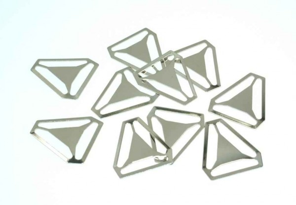 triangles for suspenders - 40mm - nickel-plated - 10 pieces