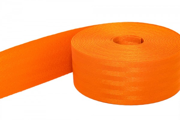 50m safety webbing orange made of polyamide - 48mm wide - load capacity: up to 2t