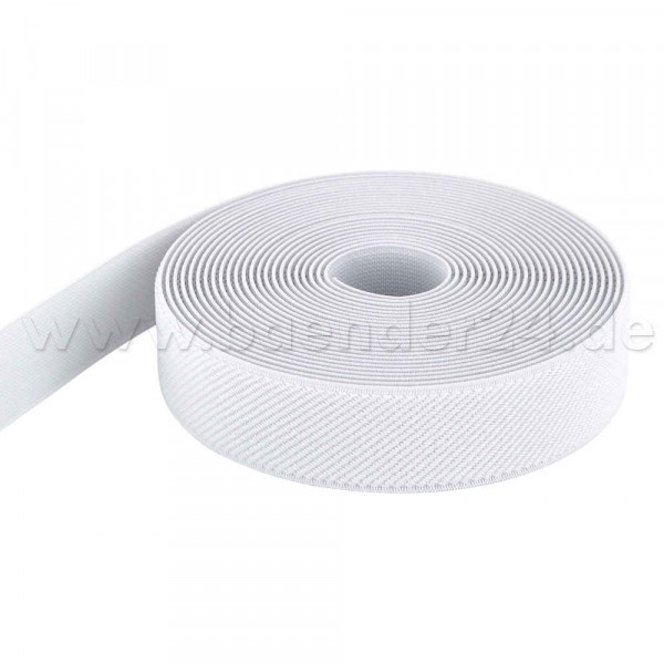 5m roll elastic webbing - color: white - 25mm wide
