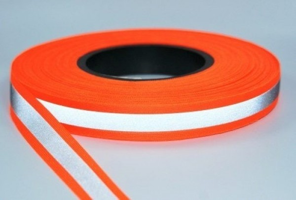 50m reflective ribbon 20mm wide - neon orange - for sewing on
