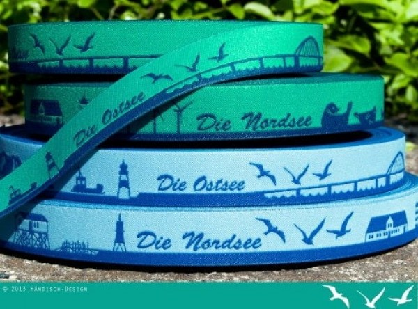 SKYLINE webbing - 16mm wide - NORTH SEA blue