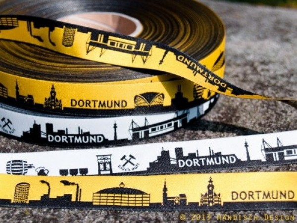 1m SKYLINE webbing - 16mm wide - DORTMUND black/white *NEW*