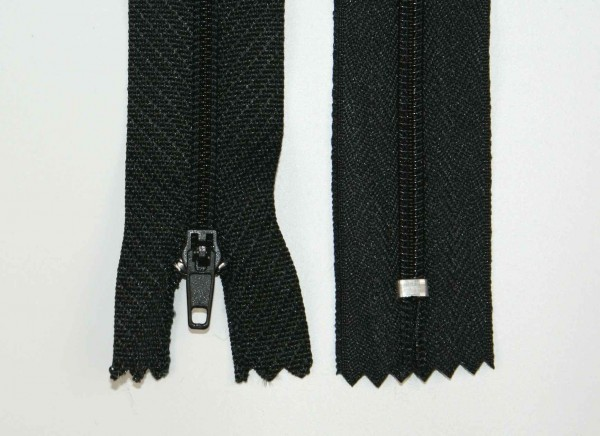 25 zippers 3mm - 18cm long - color: black
