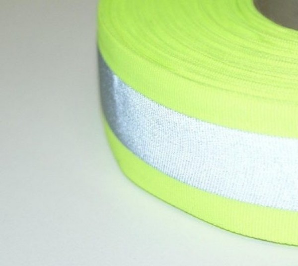 50m reflective ribbon 50mm wide - neon yellow - for sewing on
