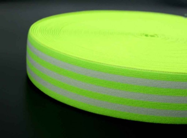 elastic webbing striped - 40mm wide - color: neon green / white - 3m roll