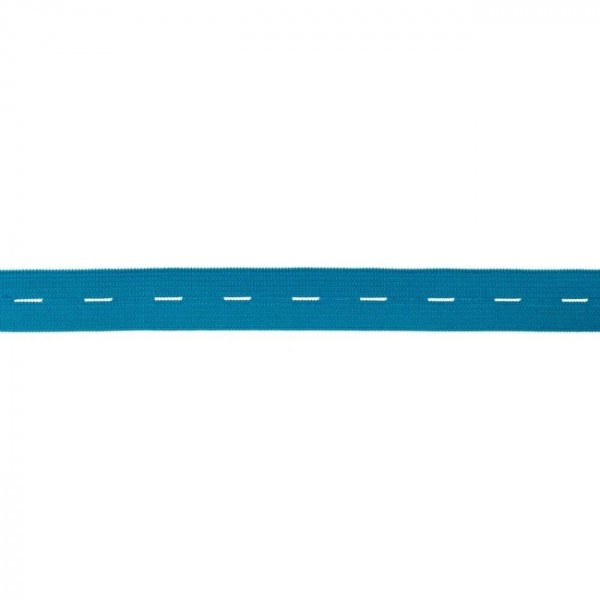 buttonhole elastic webbing - colour: aqua - 20mm wide - 3m length