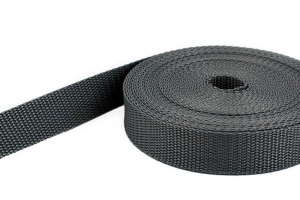 10m PP webbing - 15mm width - 1,4mm thick - anthracite (UV)