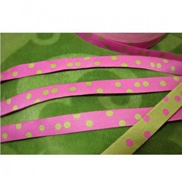 3m roll webbing design by Farbenmix - 10mm wide - Dots light pink/lime