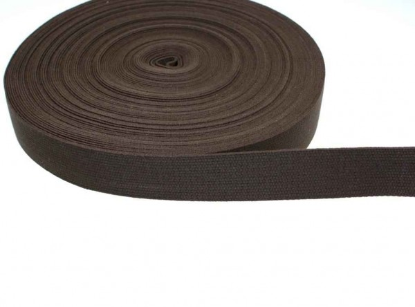 25m cotton webbing - 1,2mm thick - 30mm wide - color: dark brown