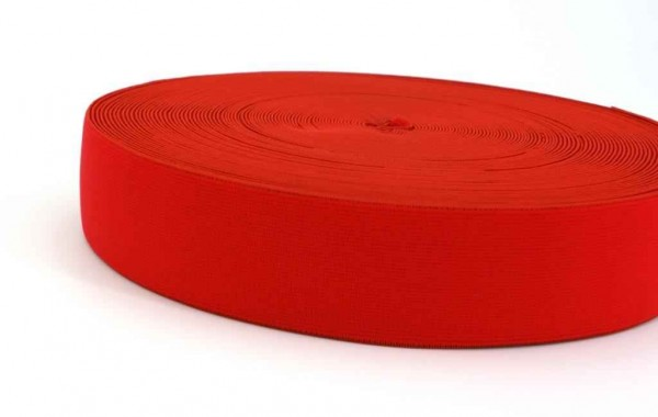 elastic webbing - 40mm wide - color: red - 3m roll