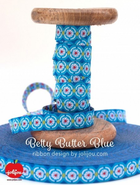 5m roll webbing design by Jolijou.de, 12mm wide, Betty Butter Blue