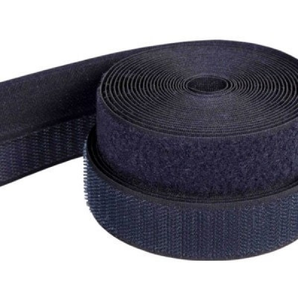25m Velcro tape, 16mm wide, color: dark blue. 16mm wide, 25m roll