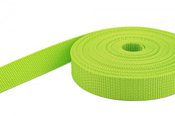 10m PP webbing - 10mm width - 1,4mm thick - lime (UV)