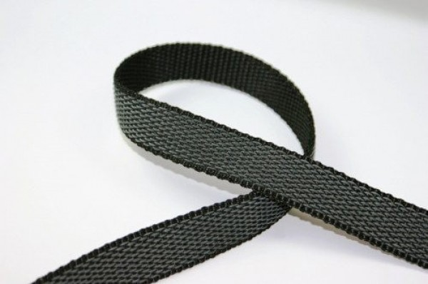 1m rubberized PP-webbing - 20mm wide - black