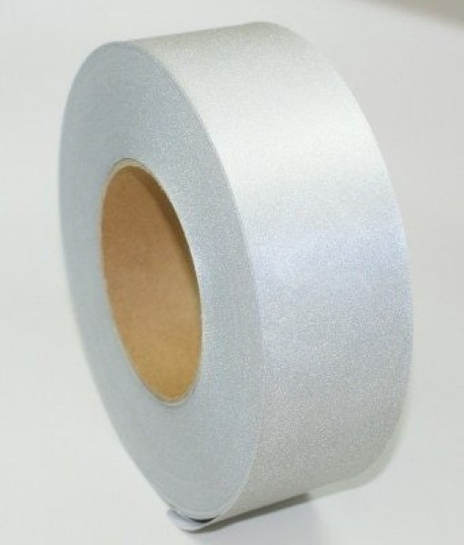 50m reflecting ribbon / webbing 50mm wide - silver - for sewing