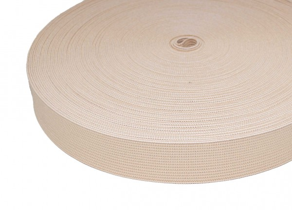 25mm wide elastic webbing made of polyester - 25m roll - nature