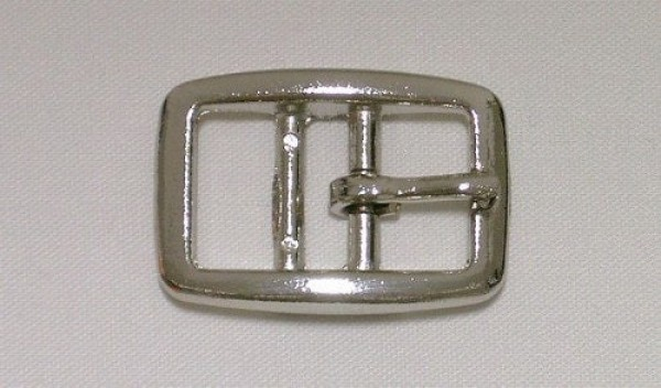 Buckle with two bars made of zinc die-casting, nickel-plated - can be used for 25mm wide webbing