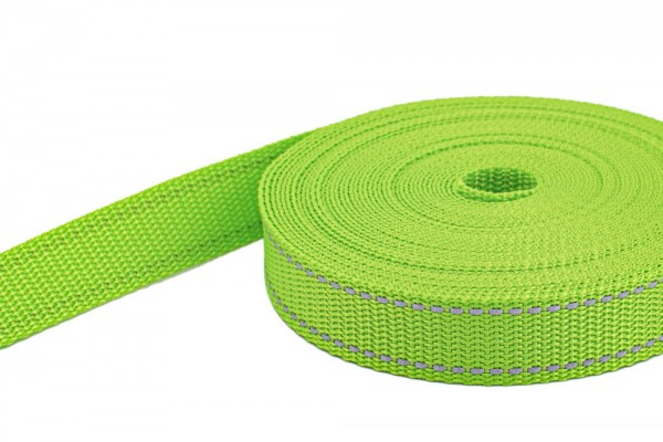 10m PP webbing - 25mm width - 1,4mm thick - lime with reflector strips (UV)