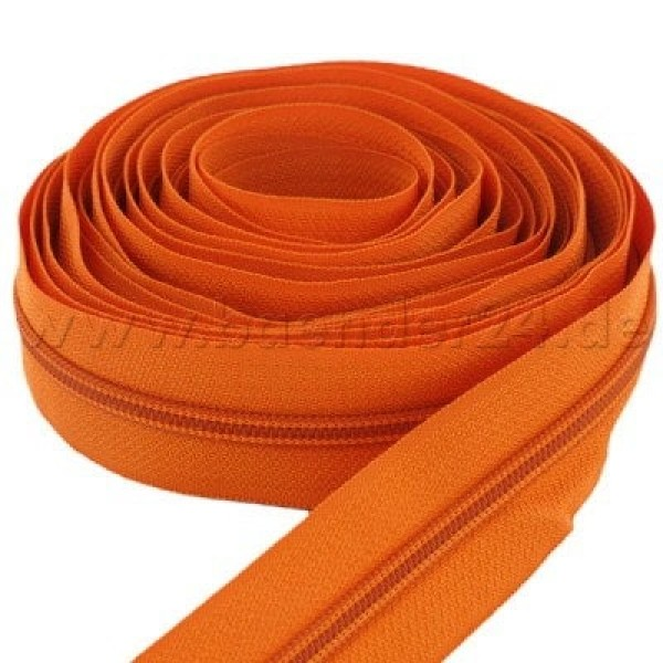 5m slide fastener, 5mm rail, color: orange