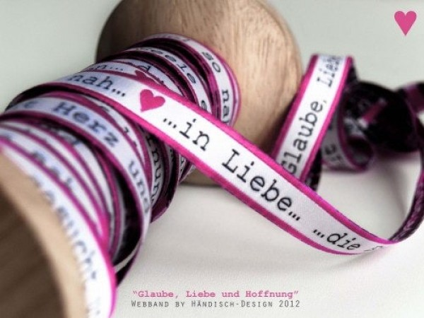 webbing - 13mm wide - FAITH-LOVE-HOPE pink