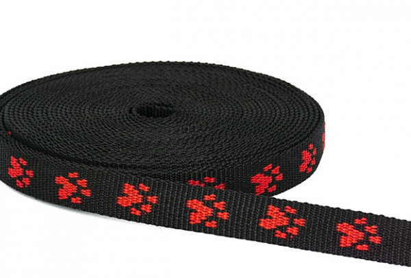 20mm wide paw webbing - red paws on black webbing - 10m roll