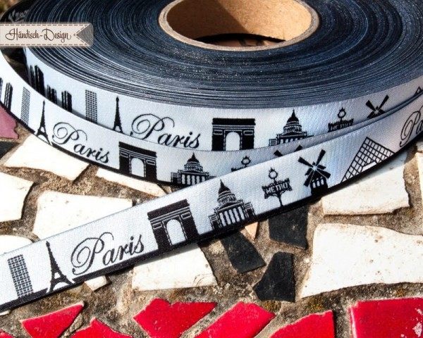 1m SKYLINE webbing - 16mm wide - PARIS black/white
