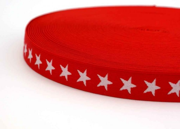elastic webbing with stars - 20mm wide - color: red - 3m roll