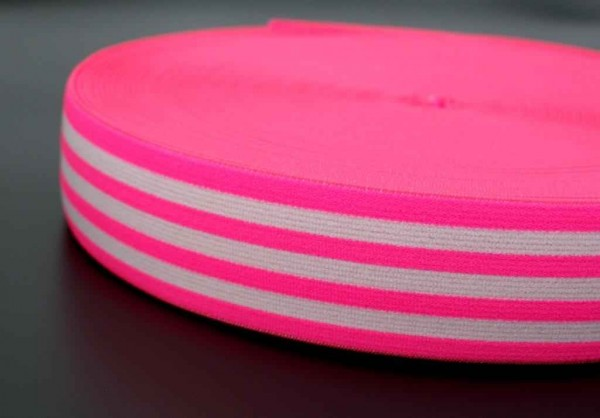 elastic webbing striped - 40mm wide - color: neon pink / white - 3m roll