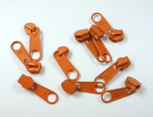 slider for 3mm zippers, color: orange - 10 pieces