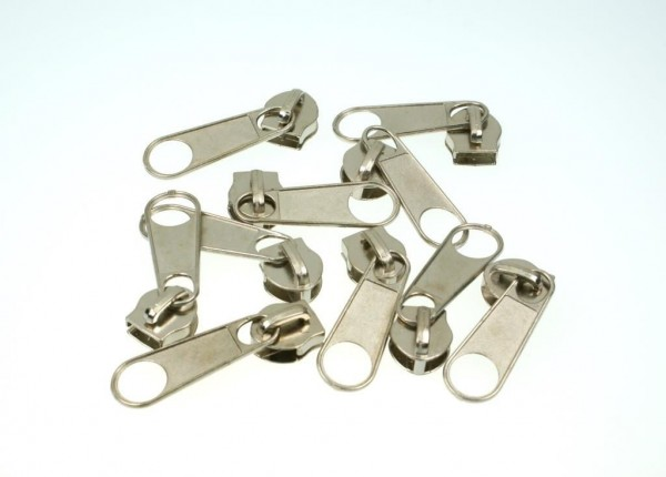 slider for zipper with 10mm rail, color: silver - 10 pieces