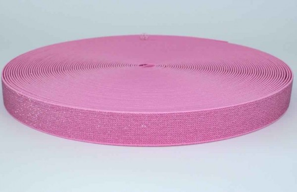 elastic webbing with glitter - colour: rose - 25mm wide - 3m length